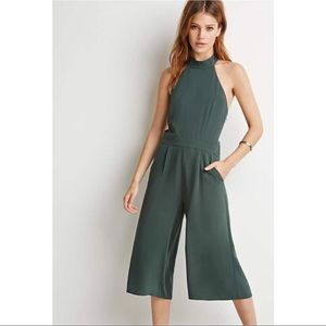 Halter jumpsuit with a culotte bottoms